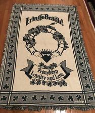 Vtg Mww 1992 Throw/Afghan/Blanket With Irish Theme Shamrocks Claddagh 45� X 65�