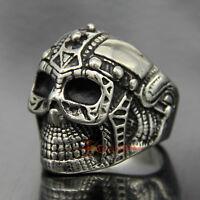 Men's Vintage Stainless Steel Demon Warrior Skull Helmet Biker Ring Silver/Black