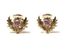 9ct Gold Pink CZ Scottish Thistle Studs earrings Gift Boxed Made in UK Christmas