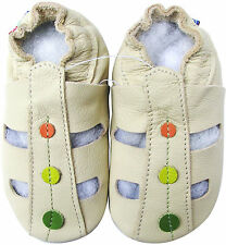 carozoo sandals dots cream 18-24 soft sole leather baby shoes