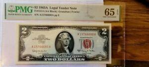 us paper money 1963-A Red Seal $2 Dollar Bill Legal Tender GRADED PMG 65