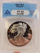 2001-W Proof American Silver Eagle, ANACS PF 69 DCAM, S$1,  #B72