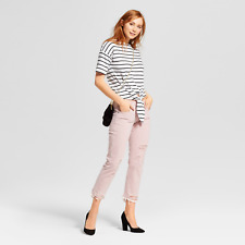 Mossimo Womens Jeans 14 Pink Distressed BOYFRIEND Crop