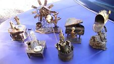 REDUCED !! ;) SET OF 6 HAND MADE METAL FIGURINES :)  5 ARE WIND-UP MUSIC BOXES !