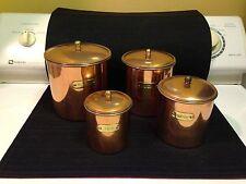 Vintage Copper Nesting Canister Set of 4 Flour Sugar Coffee Tea Brass Plates