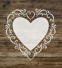Stencil Cuore Shabby Chic Francese Vintage Sign Furniture MYLAR 125 Micron a5 (31)