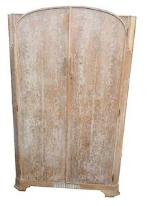 Art Deco 1920s limed quarter sawn oak double wardrobe heals style.