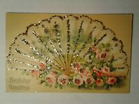 Old Birthday Greeting Postcard of a woman's fan, embossed & glittered