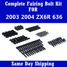 Complete Motocycle Black Fairing Bolt Fasteners Kit for 2003 2004 ZX6R 636 i01