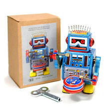 "TIN TOY ROBOT 3.5"" Wind Up Retro Vintage Style Blue Metal NIB Space Collectible"