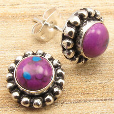 Exclusive PURPLE COPPER TURQUOISE WELL MADE Stud Earrings, Silver Plated Jewelry
