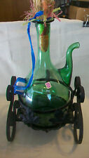 VINTAGE HAND BLOWN GREEN GLASS WINE BOTTLE DECANTER WITH ICE CHAMBER FROM ITALY