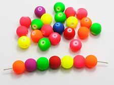 100 Mixed Matte Fluorescent Neon Beads Acrylic Round Beads 12 Mm Rubber Tone