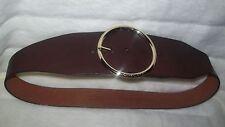 MICHAEL KORS  choco/brown LEATHER BELT Large circular logo backle LARGE NWT