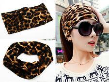 "5"" wide yoga headband leopard print stretch hairband elastic hair bands turban"
