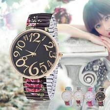 Luxury Flower Design Alloy Stretch Band Quartz Girl Women Ladies Wrist Watch^#BG