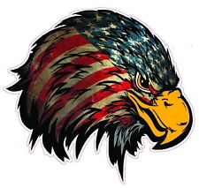 "Weathered American Flag Eagle Head Version 2 Left Large Decal 10"" Free Shipping"