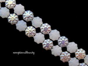 50 White Opal Aurora Borealis Preciosa Czech Glass 8mm Flower Disc Coin Beads