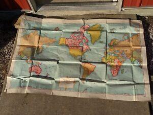 "Vintage Rand McNally Cosmopolitan World Map 51 1/2"" x 34 1/4"" Large"
