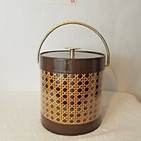 Thermo Serv Vintage Ice Bucket with Lid 1970s Retro Mid Century Modern Brown