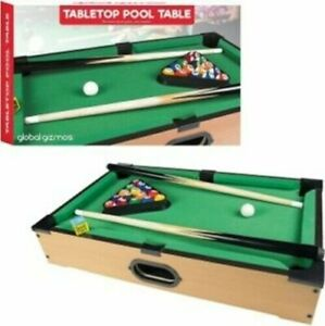Kids Mini Wooden Table Top Pool Play Snooker Game Set Felt Surface Cues Balls