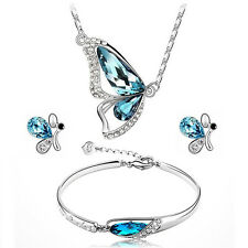 Womens Butterfly Sets Necklace Earring and Bracelet Crystal Set Charming Jewelry