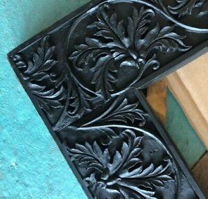 "Antique Carved Frame Black Large Ornate Holds 36"" X 26"" Art or Photograph"