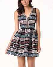 NWT bebe black multi color printed striped sexy mesh flare top dress XS 2 party
