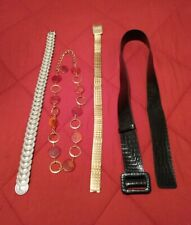 LOT of 4 WOMEN'S VINTAGE 80's 90's BELTS METAL STRETCHS FISH SCALE ELASTIC USED
