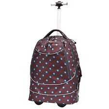 "Horizon 20"" Carry-on Polka Dot Brown Dual Wheeled Shoulder Laptop Backpack Bag"
