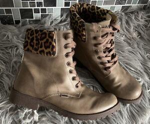 MTNG Boots Brown With Leopard print Trim Size 5 Eur 38 VGC