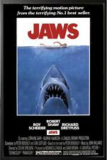Jaws Movie Poster Framed in Executive Black Wood Frame