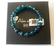 NWT ALex and Ani ENIGMA CERULEAN Blue Beaded Charm Bangle Bracelet BOX R SILVER