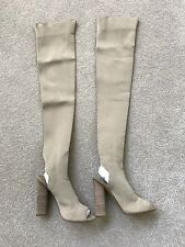 Yeezy Season 2 Knit Sock Open Toe Over The Knee High Boots Gold Size 37