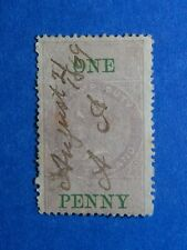 1867 1d NEW ZEALAND STAMP DUTY REVENUE BAREFOOT# 83 USED DIE I PERF 12.5 CS33134