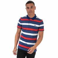 Men's Lacoste Striped Ultra-Light Short Sleeve Cotton Polo in Blue