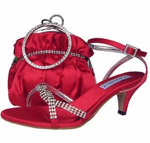 Ladies Wedding Party Heel Shoe Evening Sandal Diamante Red Satin NEW