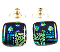 """Dichroic Earrings Glass 1/2"""" Green Gold Black Dots Square Patchwork 12mm Post"""