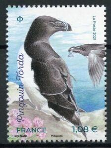 France Birds on Stamps 2021 MNH Razorbill Birds of Islands Penguins 1v Set