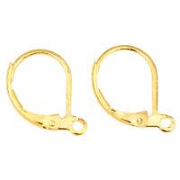 10 Ohrstecker Gold Ohrringe Rund 15mm Klapp Brisuren Ohrhänger Ohrhaken M30