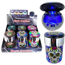 Portable Car Travel Cigarette Cylinder Candy Skull Ashtray Holder Cup Led Light