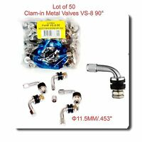 50 Kits VS8 90 DEGREE ANGLE METAL/CHROME TIRE VALVE STEMS HIGH PRESSURE BOLT IN