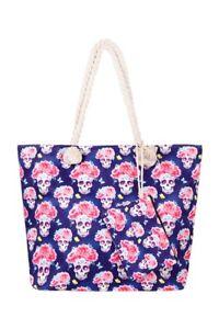 Sugar Skull Tote Bag and Wallet Navy Blue Pink Floral Beach Travel