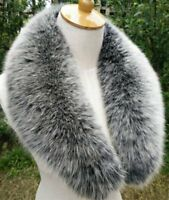 Real Black&White Fox Fur Collar Detachable Down Jacket Fur Scarf Wrap Shawl