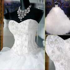 New White/Ivory Organza Strapless Wedding Dresses Bridal Gown Ball Size Custom