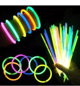 """100 LED Bracelet Wristband Arm Band Glow Flashing Disco Concert UK-Stick Size 8"""""""