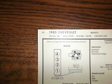1980 Chevrolet Monza Four Series 2.5 Litre 151 Ci 2Bbl Crossflow Tune Up Chart