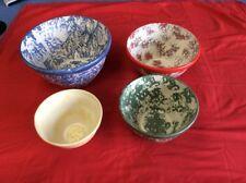 Vintage Arnels Ceramic Pottery Large Bowls 4 Piece Set 1985 See Description