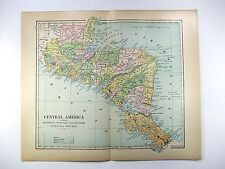 Original 1898 Map of Central America by Fisk & Co. Antique