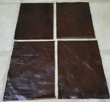 """Brown Vintage Shiny Aged leather 9""""x4.5"""" offcuts x4 1.1mm Craft patch repair"""